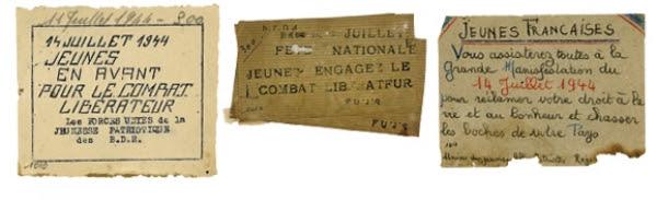 Papillons et tract appelant à la célébration du 14 Juillet 1944, Coll. MRN