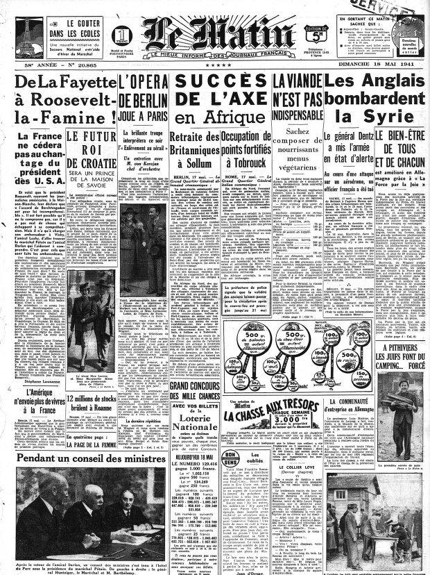 Le Matin, 18 mai 1941 (Numéro 20865).