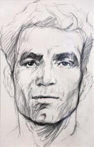 Portrait de Missak Manouchian - Ernest Pignon-Ernest, 2017.