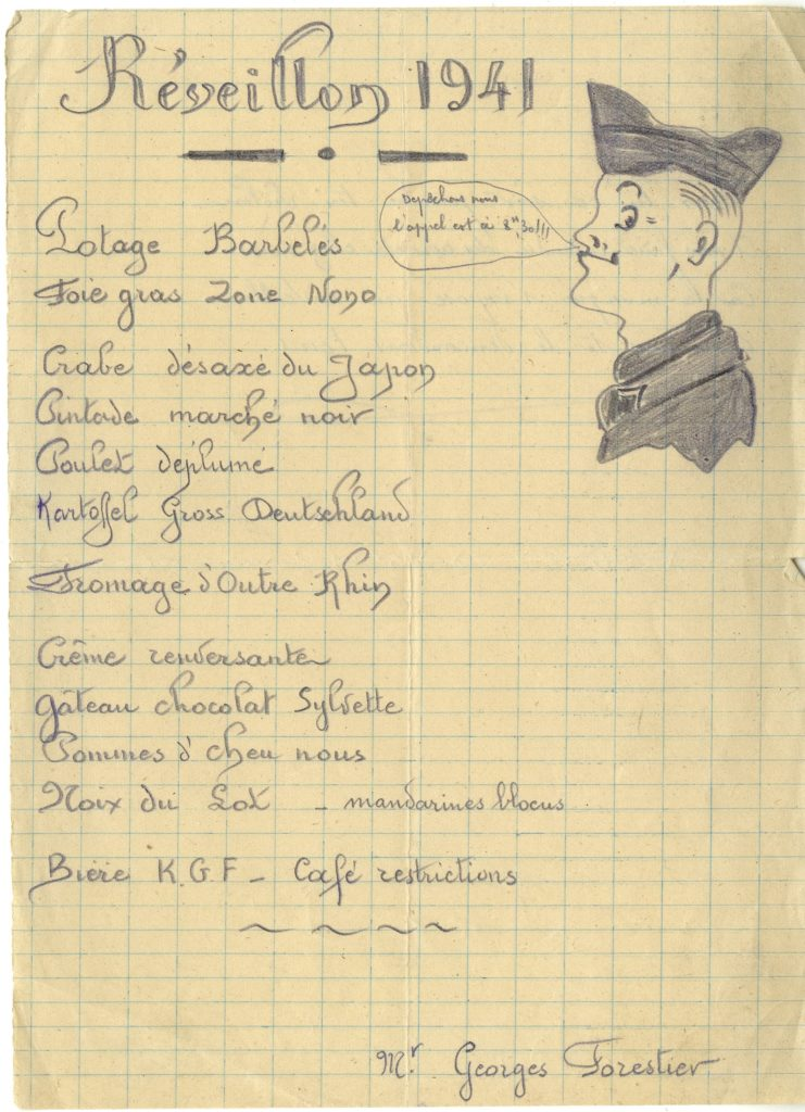 Menu Réveillon 1941 - fonds Georges Forestier