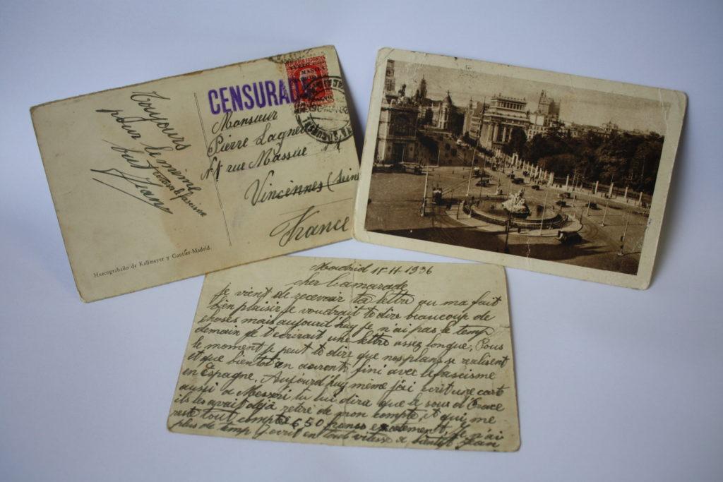 Carte postale adressée par Jean à Louis Lagneau - Madrid, novembre 1936.