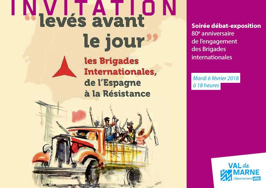 Invitation à la soirée expo-débat consacrée aux Brigades internationales. Visuel.