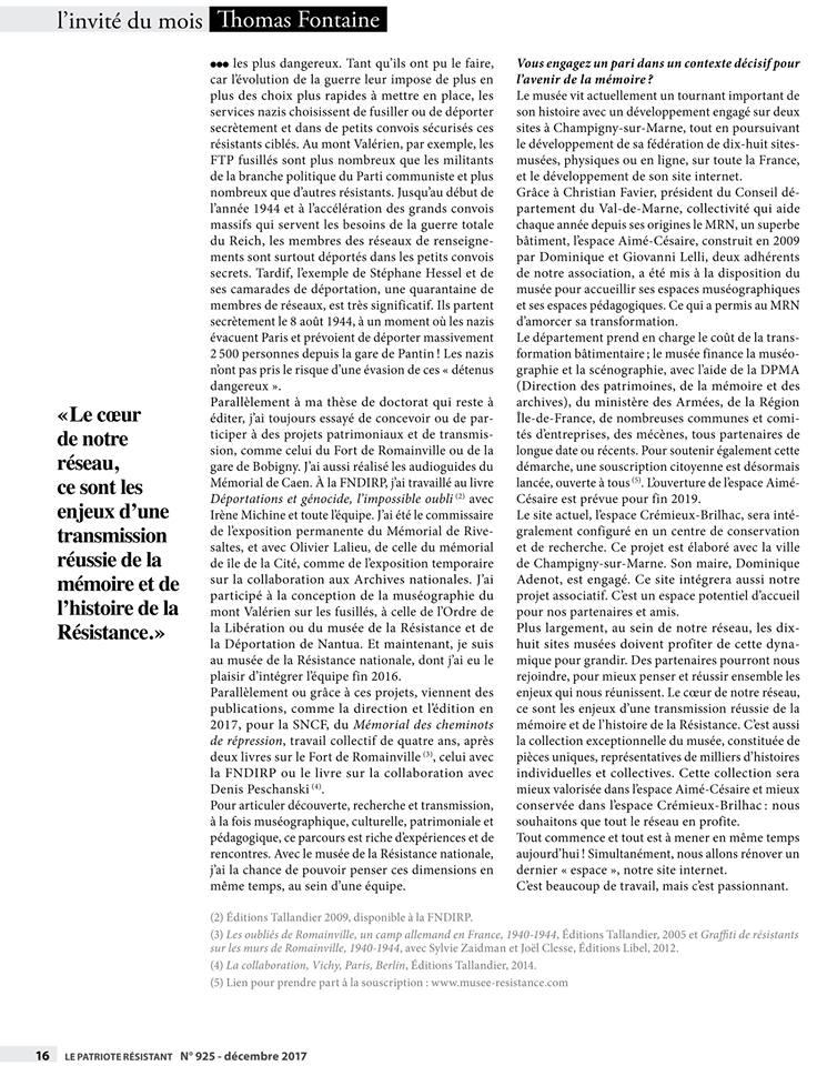 Défis de l'avenir - entretien Thomas Fontaine, Le Patriote résistant.