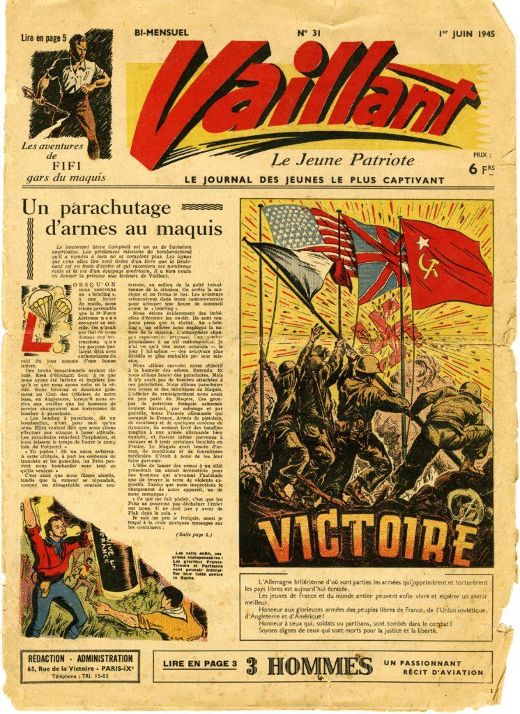 Une du journal Vaillant, 1er juin 1945.